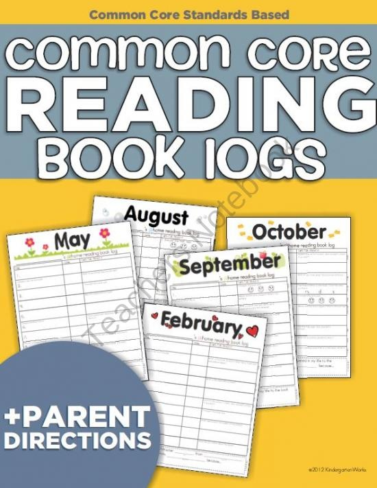 Common Core aligned Reading Book Logs for at home reading
