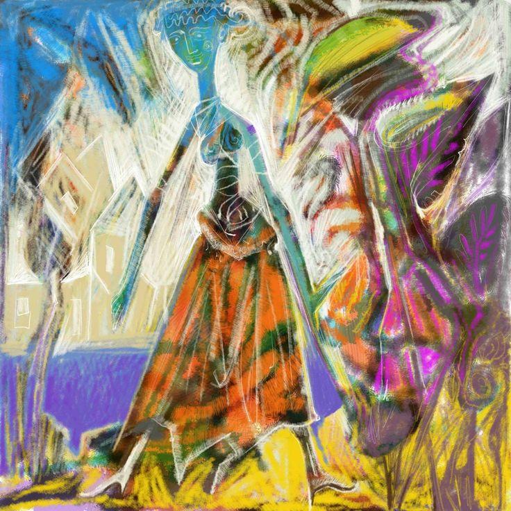 A Blue Woman. digital Painting. 2017 Two series of Prints. 60x60 cm.  5.Prints. 90x90 cm. 5 prints.