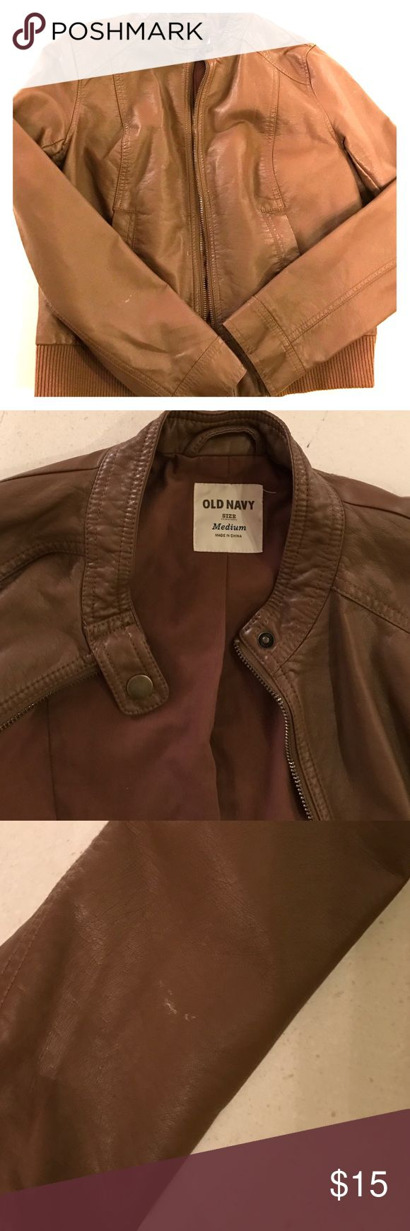 Women's Faux brown leather coat Faux leather brown bomber jacket. Has front pockets. Zippers in front and can be buttoned at the neck line. Old Navy Jackets & Coats Utility Jackets