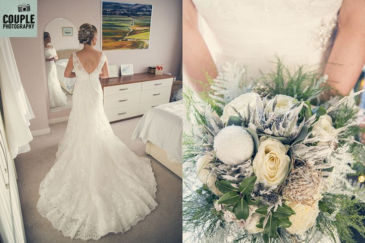 The bride is in her dress and ready to go. Beautiful winter wedding bouquet. Weddings at Tulfarris Hotel Photographed by Couple Photography.