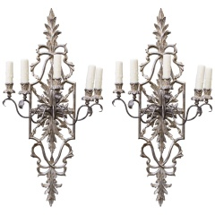 Pair of Carved Italian Silver Gilt Sconces