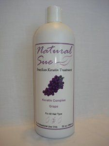 "Organic & Natural Brazilian Keratin Hair Treatment - Keratin Complex Grape 32oz by Natural Sue. $150.00. Natural Sue - ""Look Good!! Feel Great!!"". Natural Sue intensive treatment remedy restores vitality by repairing the hair from the inside out.. The proven results will provide hair with regained elasticity, flexibility, softness and a naturally vibrant shine.. Natural Sue is a revolutionary hair care products that dramatically straightens, smoothens and treats the hair.. Natura..."