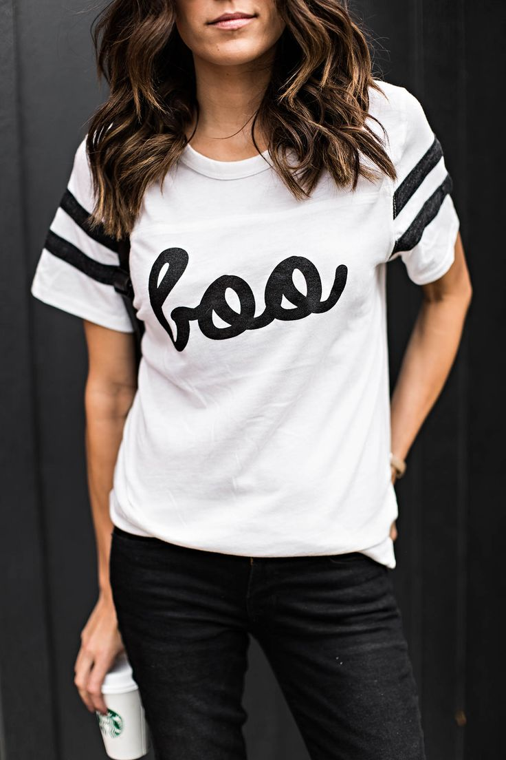 Get ready for Halloween In this super cute Boo Graphic Tee
