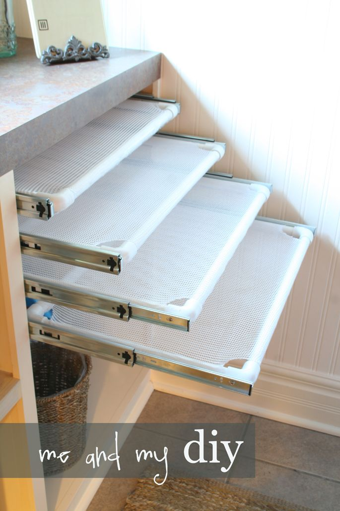 Me and My DIY - pullout flat drying racks...  But I don't want to use my one nook by the W/D for it.  Maybe there is some way to make drying racks as shown, but some other method of storing/using them?