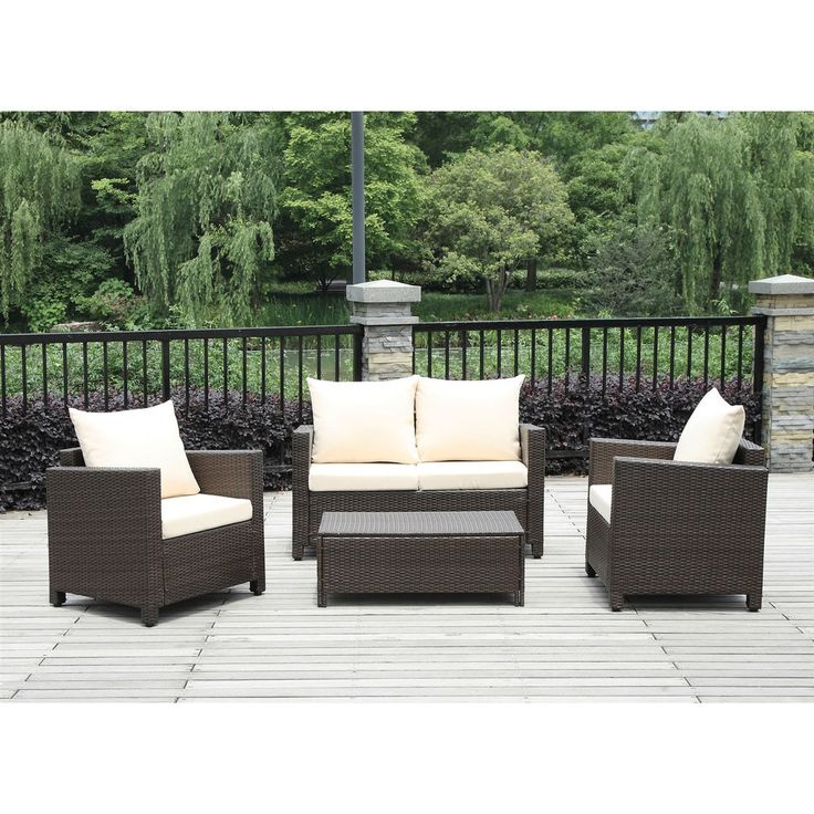 4 Piece Brown Wicker Resin Patio Furniture Set W/ Beige Cushions