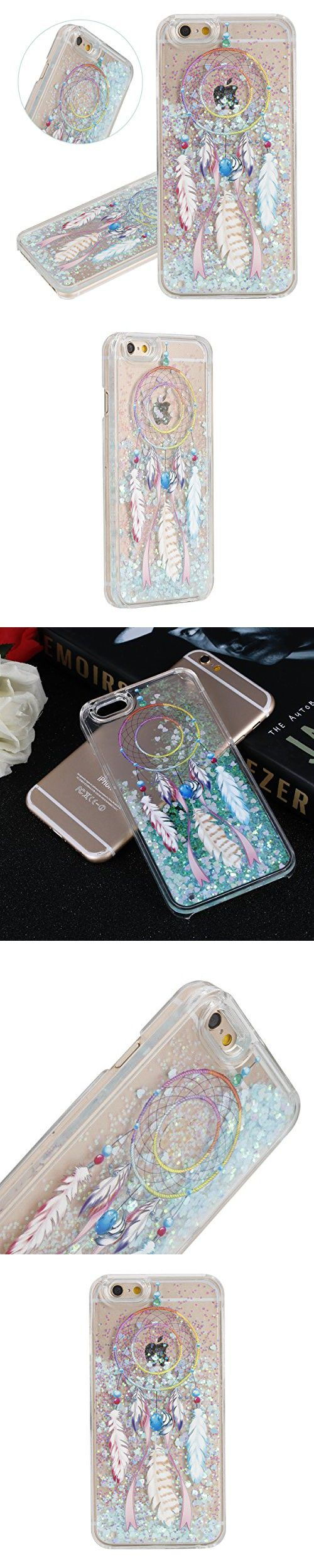 "IKASEFU Funny Novelty[Flowing Glitter Blue Hearts]Colorful Dreamcatcher Hard Bling Shiny Clear Liquid Plastic Case Cover for iPhone 6 Plus/6S Plus 5.5""-Hearts,Colorful Dreamcatcher"