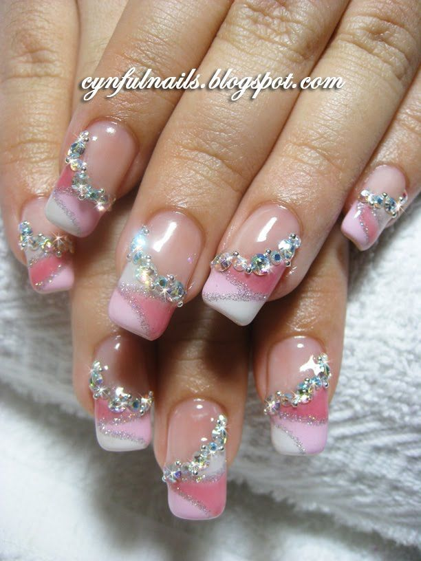 Cute nails with glitter | ... in-pink-with-glitter-nail-art-design-rhinestone-nail-design-ideas.jpg