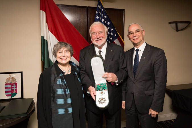 Professor Mihaly Csikszentmihalyi (center) with his wife, Isabella, and Zoltan Balog, Hungary's Minister of Human Capacities.