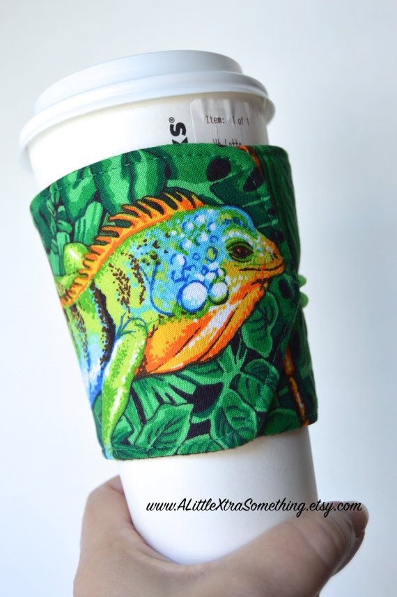 Lizard/Reptile Coffee Cup Cozy/Jacket/Sleeve, Handcrafted, Eco Friendly and Adjustable for hot/cold drinks - READY TO SHIP $9.99