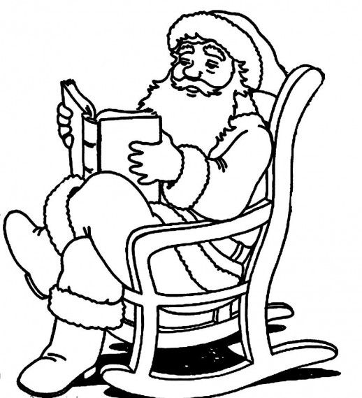 Santa Claus Reading A Book On A Rocking Chair Christmas