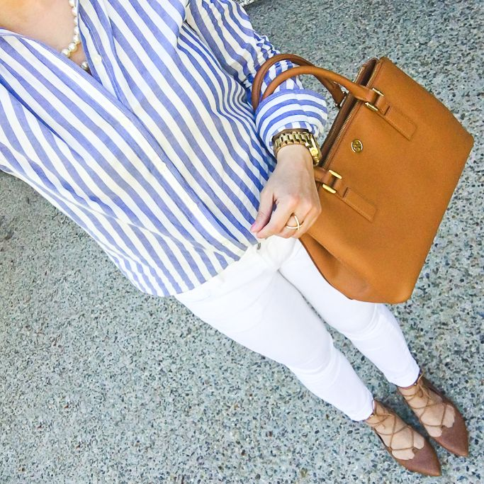 Vertical striped blue button up shirt, white jeans, Tory Burch mini robinson tote, cognac lace up flats, petite fashion, spring outfit - click the photo for outfit details!