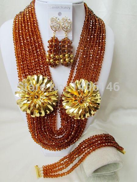 Свадебные украшения сапфир ювелирные изделия свадебный мода кристалл ожерелье, Африка нигерия бусины, Невеста комплект ожерелье браслет Ab161