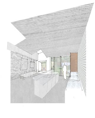 Sketch of proposed kitchen and garden room, House for Two Artists, Gort Scott Architects