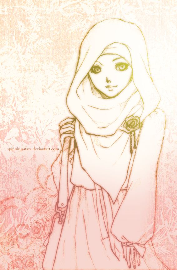 Stylish Hijabi Girl Drawing
