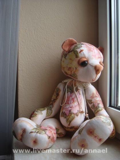 - handmade teddy bear with decoupage