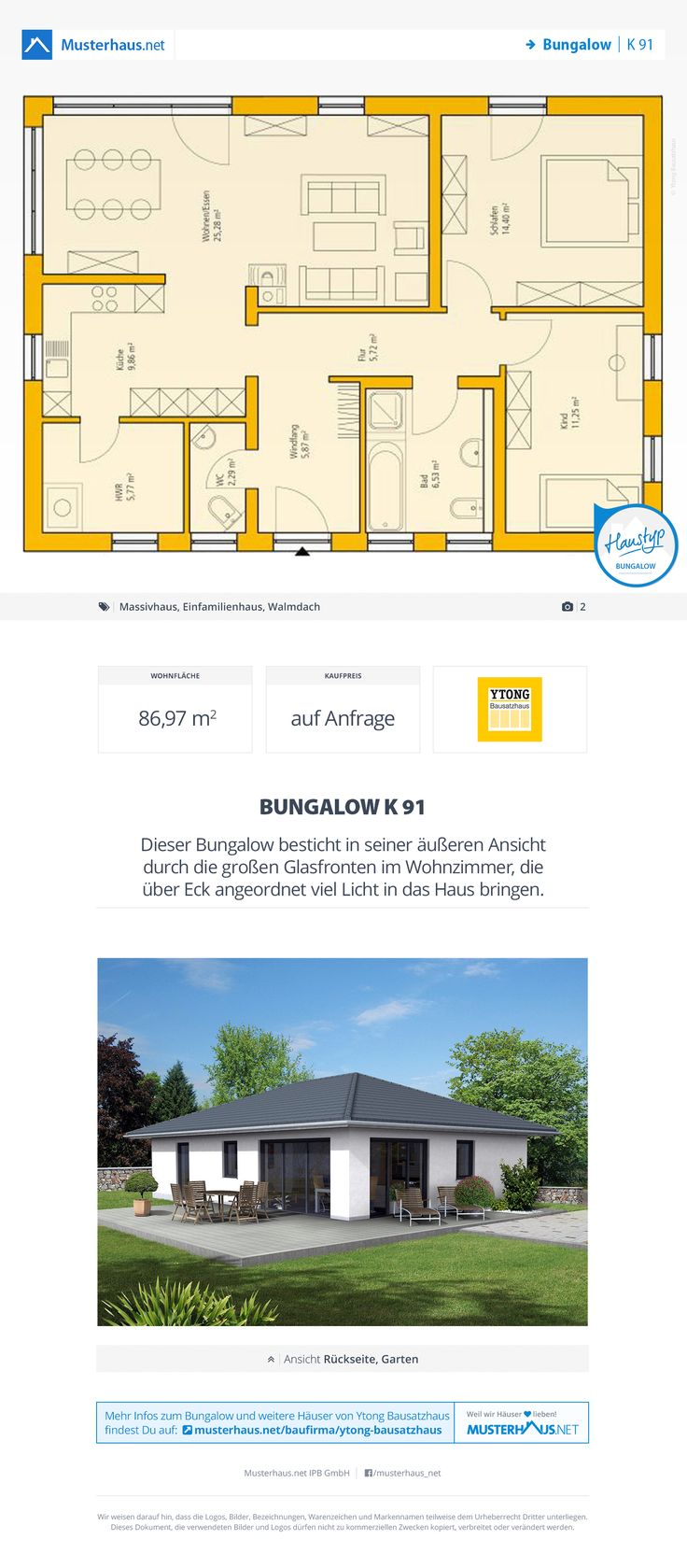 Bungalow Grundriss, 87 m²