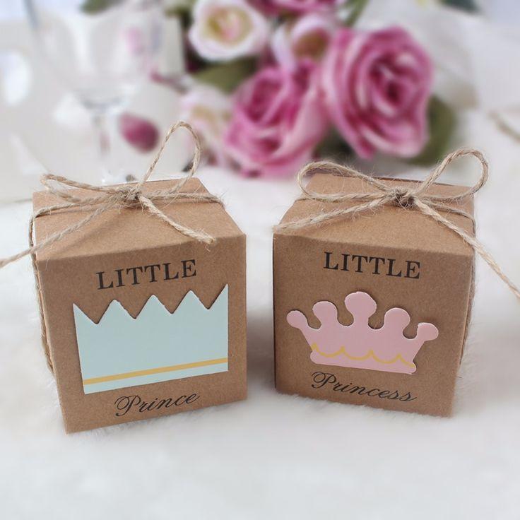 10 Stücke Kraft Papier Geschenkbox Süßigkeitskästen Baby-dusche Dekorationen Hochzeit Gefälligkeiten und Geschenken Box für Gäste 2*2*2 zoll Billig Preis