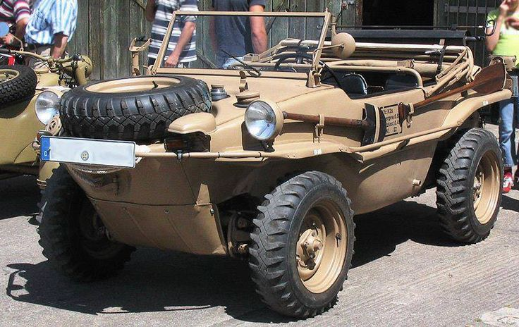 The VW Type 128 and 166 Schwimmwagen (literally Floating / Swimming Car) were amphibious four-wheel drive off-roaders, used extensively by the German Wehrmacht and the Waffen-SS during the Second World War. The Type 166 is the most numerous mass-produced amphibious car in history.