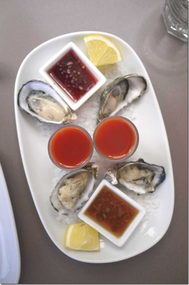 Oyster plate - fresh with mignonette dressing, Bloody Mary shots and crisp fried…