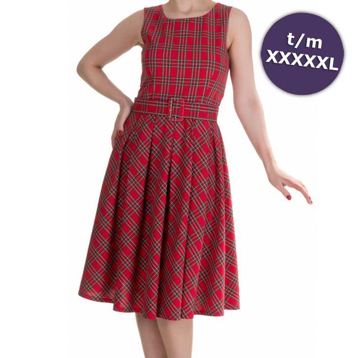 Annie swing jurk met schotse ruit tartan print rood - Vintage 50's Rockabilly retro