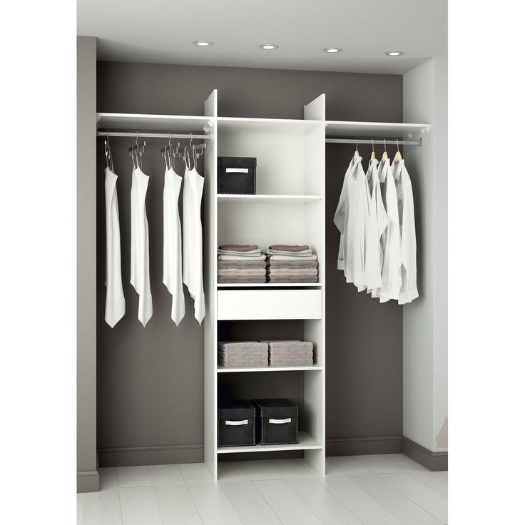 Kit dressing Colonne penderie + tiroirs Modul'star, blanc, L180xH203xP40cm | Leroy Merlin
