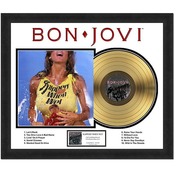 Photo File Bon Jovi 'Slippery When Wet' Gold Record Wall Art ($145) ❤ liked on Polyvore featuring home, home decor, wall art, music wall art, gold home accessories, photo wall art, gold framed wall art and music home decor