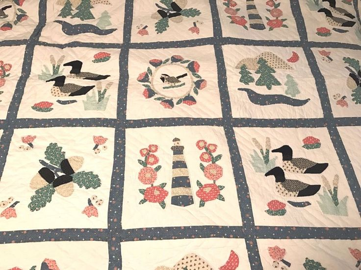 Antique Amish family King Quilt Handmade Quilted Applique 100 x87 Estate blanket #eBayDanna