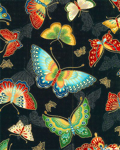 """Elegant butterflies flutter over a solid ground with shimmering gold metallic highlights throughout. This companion print will add a touch of nature's magic to your project as these elegantly rendered insects remind us of summer, gardens and the joy of nature. Larger butterflies are about 5"""", with gold metallic, from the 'Imperial Collection 10' by Robert Kaufman Fabrics."""