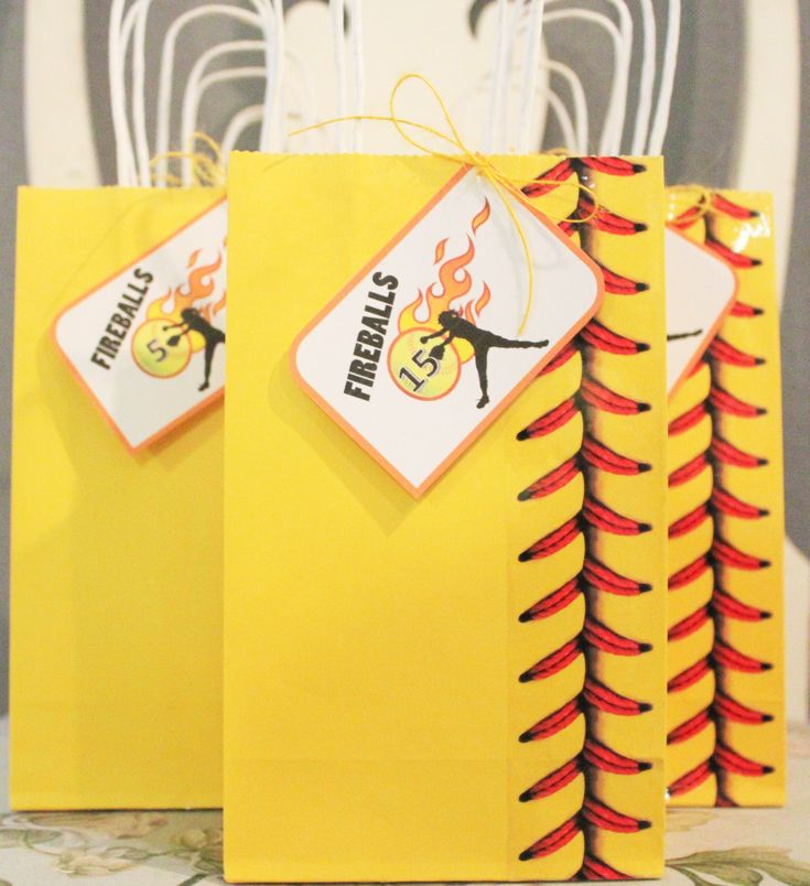 My daughters softball snack bags! Dollar tree bags, Baseball stitch tape, and printable tags.