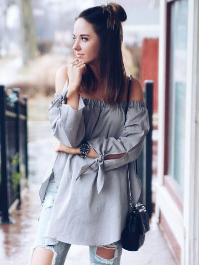 Grey Long Sleeve Off The Shoulder Knotted Blouse -SheIn(Sheinside) Mobile Site