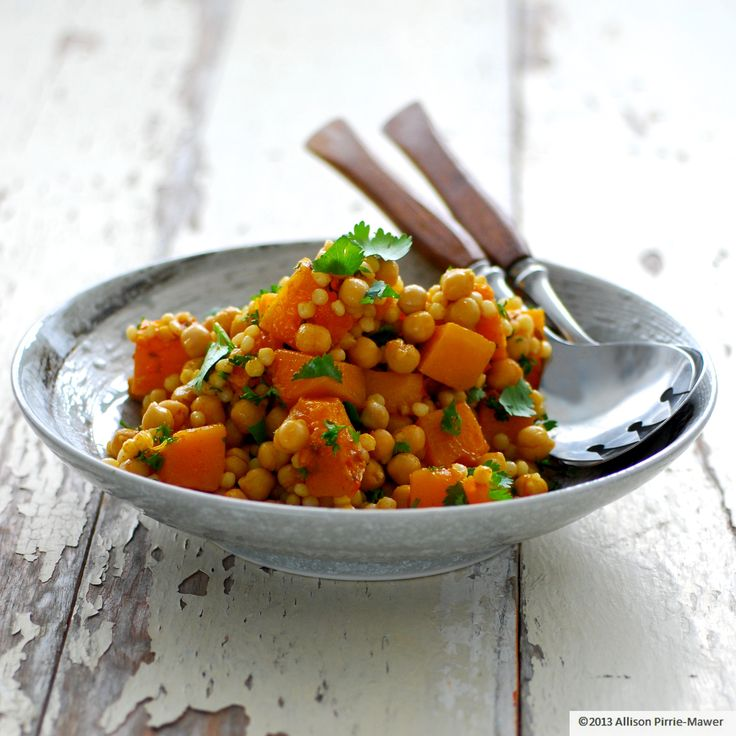 couscous, pumpkin and chickpea salad | grains and legumes | Pinterest