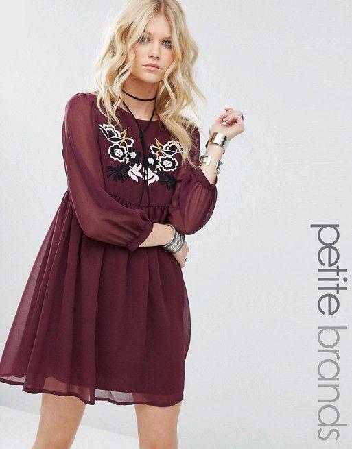 Glamorous Petite | Короткое приталенное платье с вышивкой Glamorous Petite