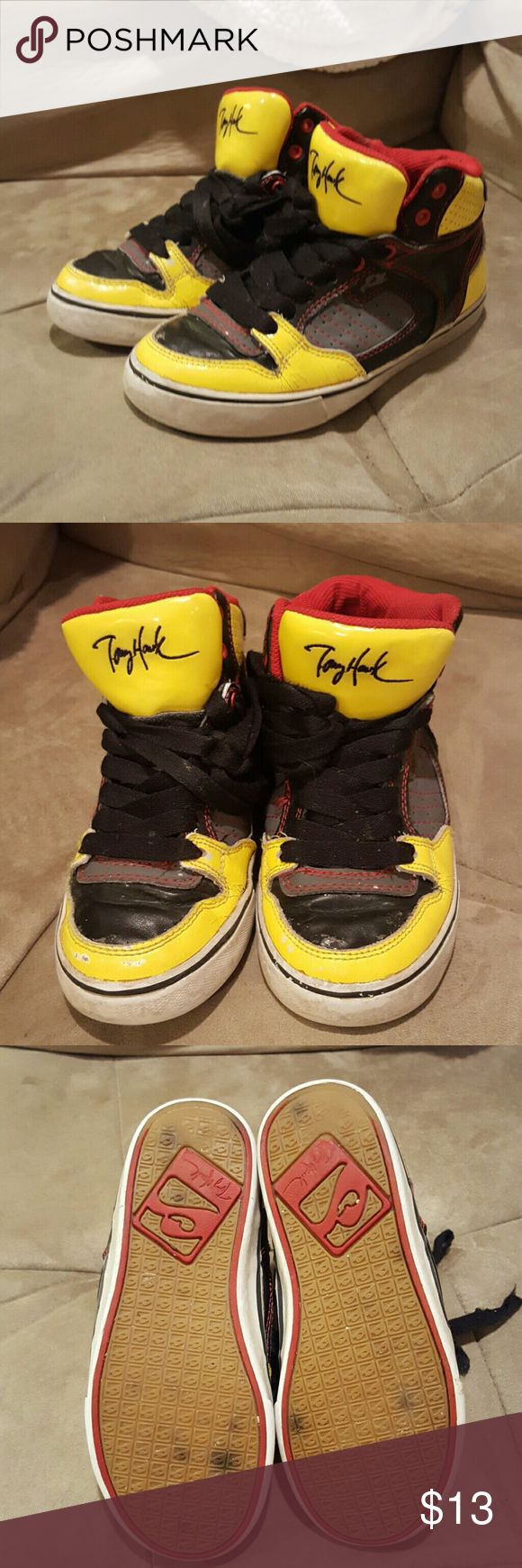 Tony Hawk Tennis Shoes - used condition, some signs of wear but lots of life left in these cute little boy shoes - yellow, red and black Tony Hawk  Shoes Sneakers