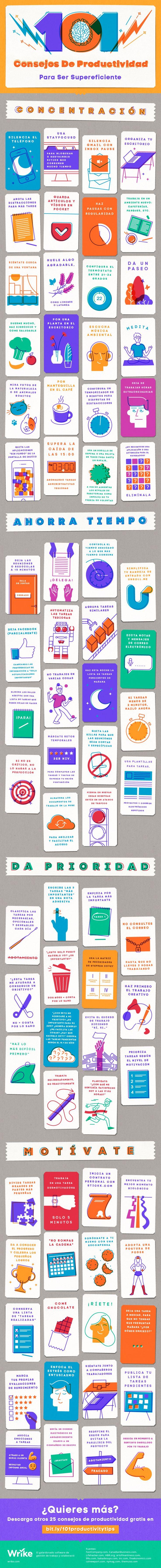 101 consejos de Productividad para ser supereficiente #infografia