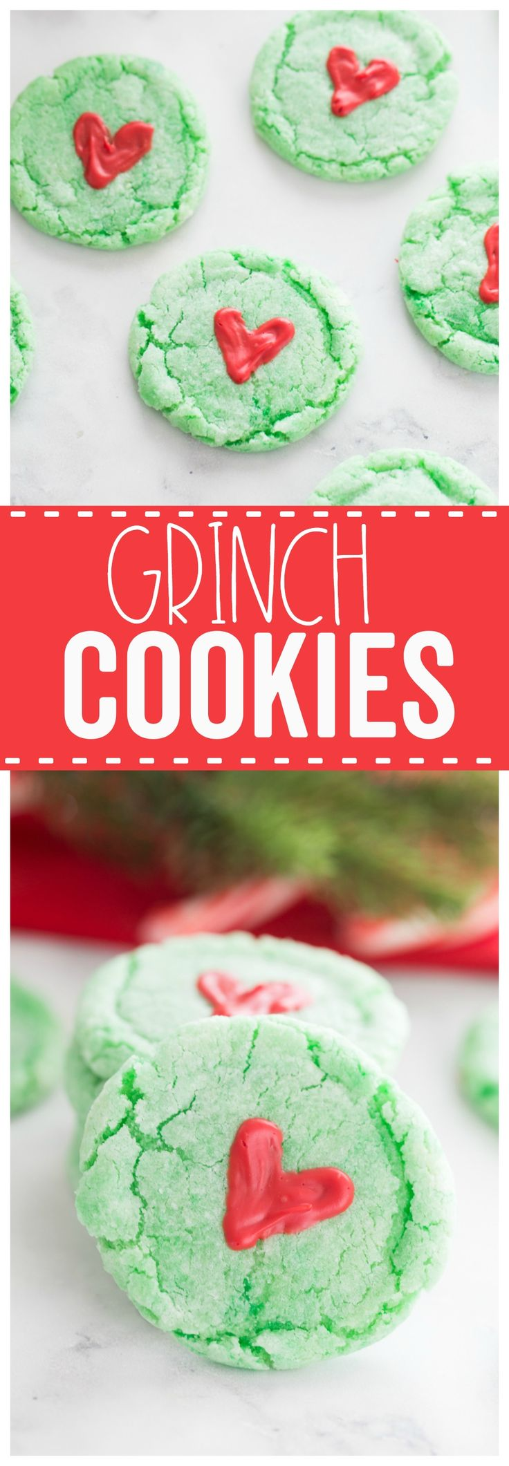 Grinch Cookies: a fun cake mix cookie recipe to help celebrate the Christmas season! Perfect for a friendly Grinchmas party!