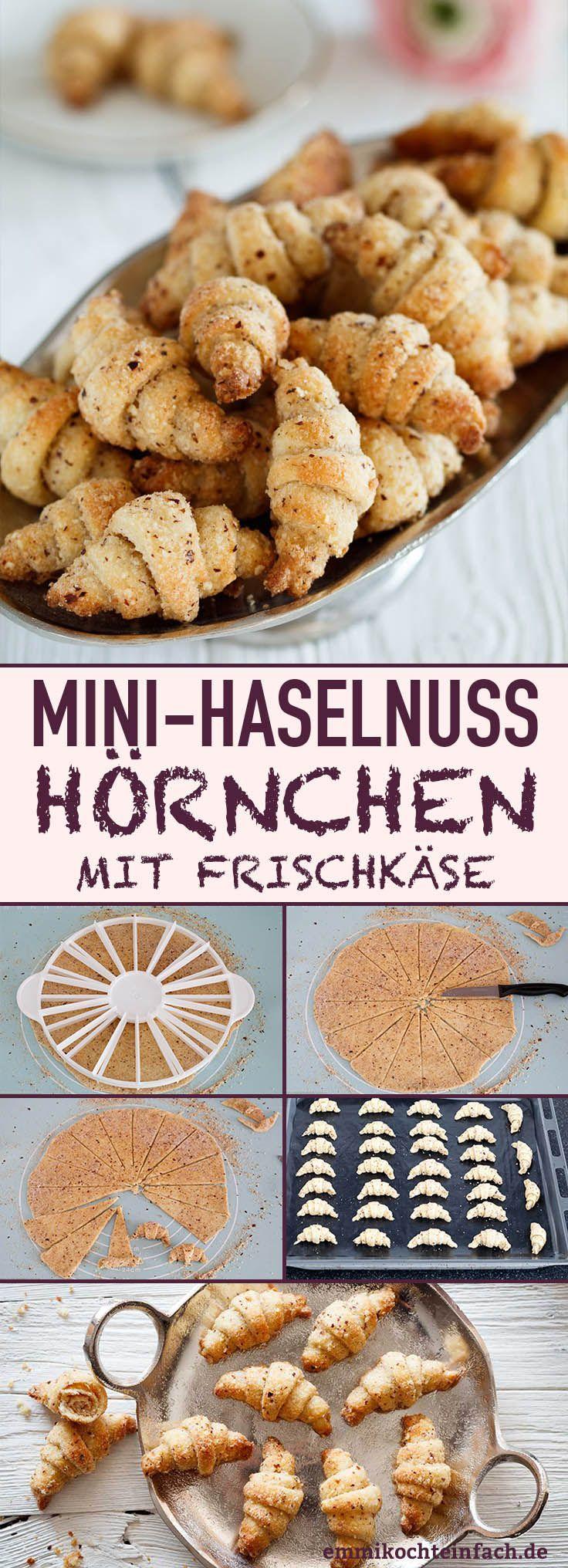 Mini-Haselnuss-Hörnchen mit Frischkäse