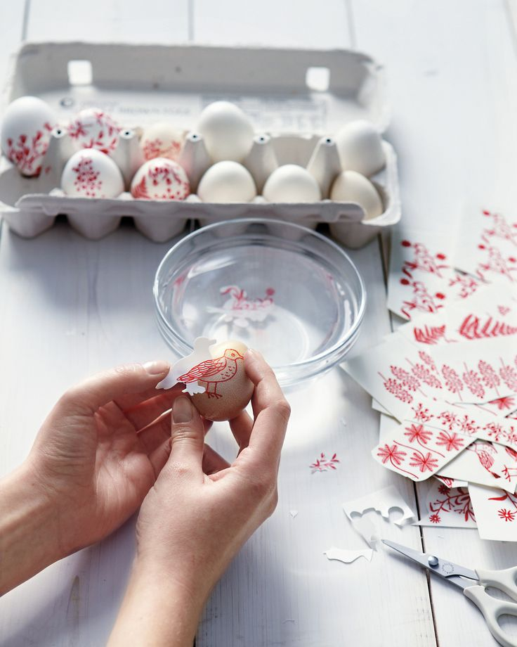 You can decorate hard-boiled or hollow eggs, but only hollow ones can be saved for future use. To hollow eggs, see step 1 of the wreath instructions.