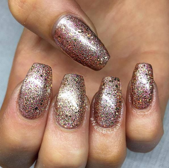 Glitter Nails using Artistic Colour Gloss Goddess available at Louella Belle…