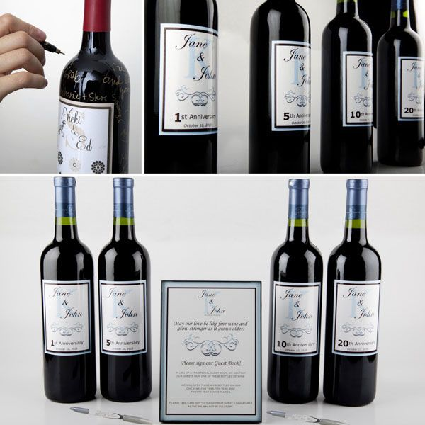 Fun idea for a wedding guest book- guests sign wines that are saved for first, fifth, 10th and 20th anniversaries!