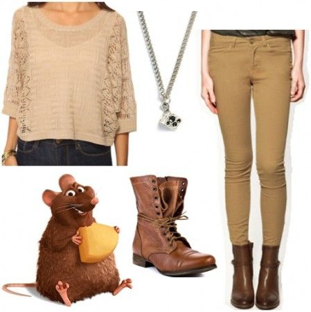 Steal Emile's look and pair an oversized sweater with a pair of skinny pants, both in neutral colors. Add combat boots for a bit of edgy flair. To tie off the outfit, wear a necklace with a cute cheese charm as a wink to one of your favorite furry friends. dvchic
