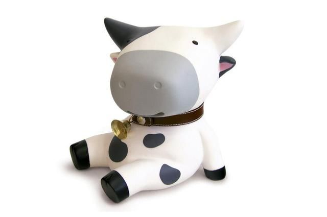 Luxury Leather Dairy Cow Coin Piggy Bank Piggy Bank Cow Toys