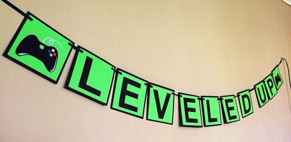 Xbox video game leveled up birthday banner by ChevysShop on Etsy