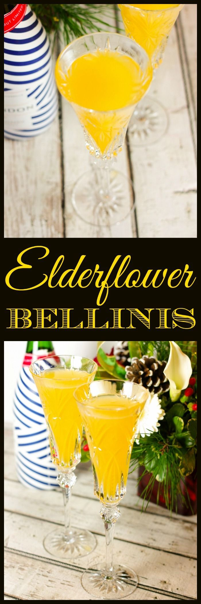 Elderflower Bellinis | www.homeandplate.com | For this peachy favorite, Elderflower liqueur is the star of the show. It's the perfect twist for this classic cocktail.