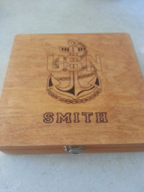Personalized US Navy Chief USN Anchor Keepsake by Five1Designs
