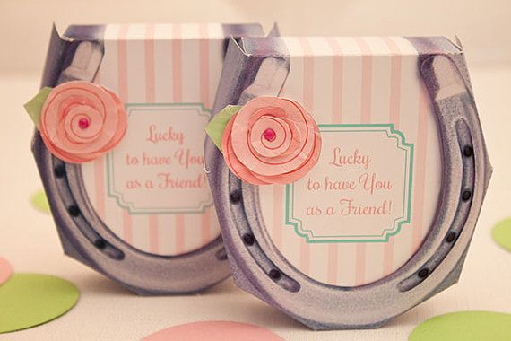 Shabby Chic HORSESHOE Favor Box - DIY Printable PDF via Piggy Bank Parties Personalize this sweet favor box with your own message!
