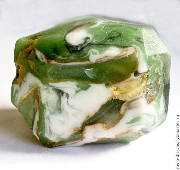 Купить мыло ручной работы Малахит - каменное мыло, необычный подарок, мыло ручной работы
