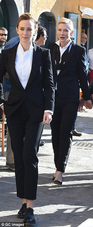 Cate Blanchett and Emily Blunt in Armani