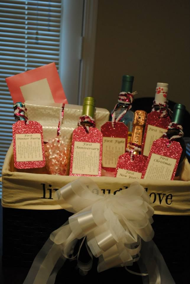 Bridal Shower Wine Basket: First Fight First Dinner Party First New Years First Anniversary First Christmas First Snow