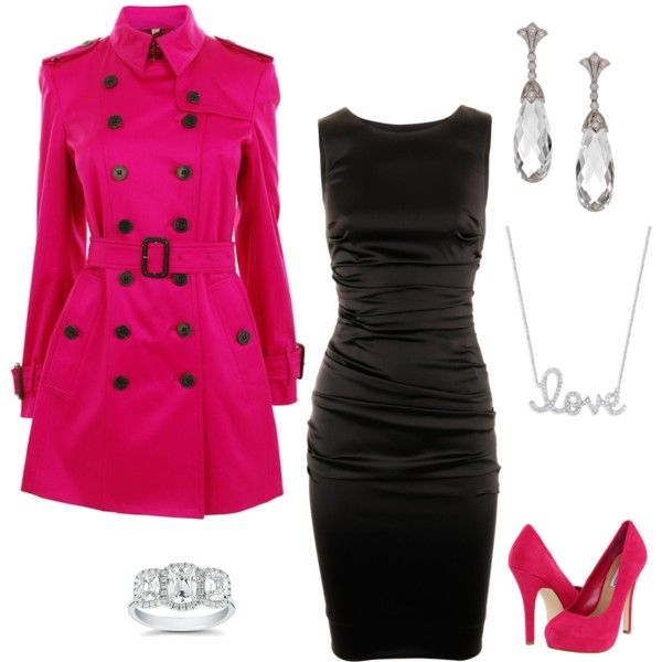 Outfit: Pink Coats, Fashion, Style, Pink Outfit, Valentines Day, Date Nights, Closet, Black Dress, Valentine S