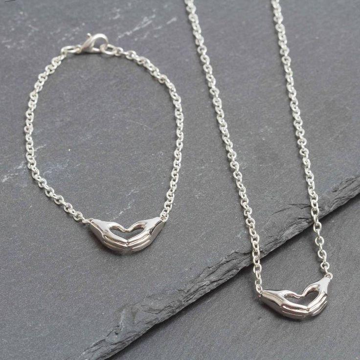 Hands In Heart Shape Silver Plated Bracelet
